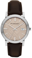 Burberry Check-Dial Watch with Leather Strap