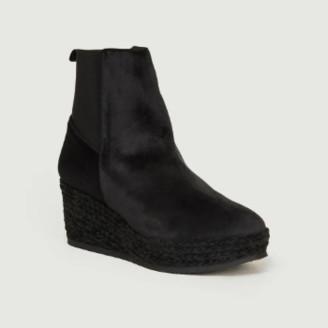 Castaner Black Velvet Noemi Wedges Ankle Boots - velvet | black | 36 - Black/Black
