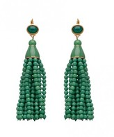 The Well Appointed House Jade Green Beaded Tassel Earrings with Gold Accents