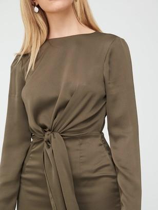 Very Crinkle Twist Front Midi Dress - Khaki