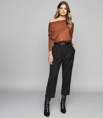 Reiss Harper - Cashmere Blend Drape Shoulder Top in Rust