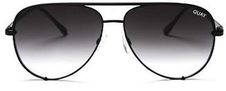 Quay Women's High Key Brow Bar Aviator Sunglasses, 56mm