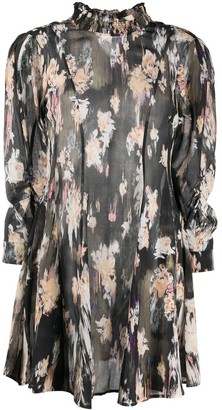 IRO Ruched Neck Floral Print Dress