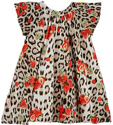Roberto Cavalli STRAWBERRY- & LEOPARD-PRINT COTTON POPLIN SWING DRESS-BROWN, RED, NO COLOR SIZE 12