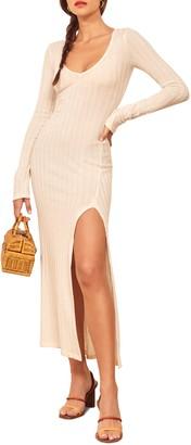 Reformation Mango Side Slit Long Sleeve Body-Con Dress