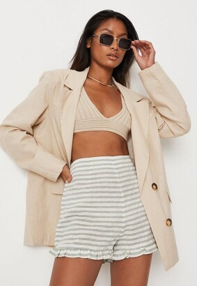 Missguided Green Stripe Co Ord Ruffle Shorts