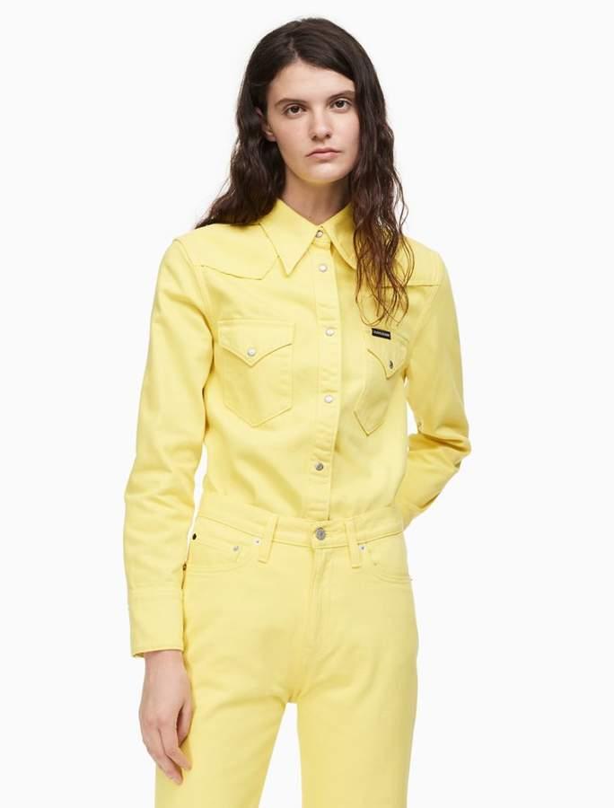 Calvin Klein western snap front yellow shirt