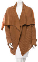 Rick Owens Open Knit Shawl Collar Cardigan