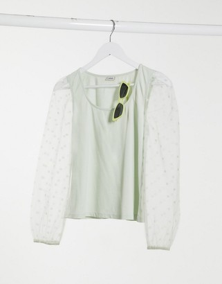 Pimkie polka dot organza sleeve t-shirt in sage green