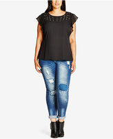 City Chic Trendy Plus Size Patched Jeans