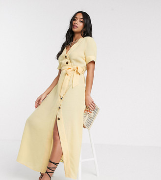 Y.A.S button through maxi dress in yellow
