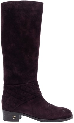 Chanel \N Purple Suede Boots