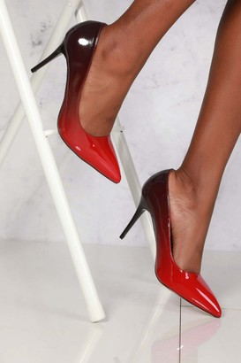 Miss Diva Jemma Two Tone Pointed Court Shoe In Red Patent