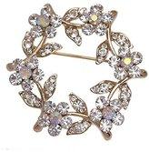 AJ Fashion Jewellery GABONE tone Crystal Wreath Brooch