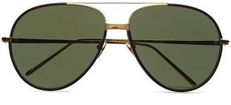 Linda Farrow Aviator-style Gold-tone And Leather Sunglasses