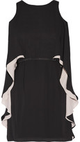 Halston Cape-effect Chiffon Mini Dress - Black