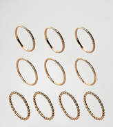 Asos Pack Of 10 Twist And Engraved Ring Pack