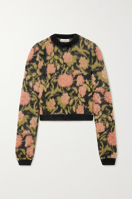Paco Rabanne Floral-intarsia Mohair-blend Sweater - Black