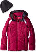 London Fog Girls' Chevron Puffer Coat with Hat