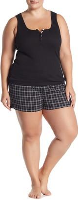Joe Fresh Henley Tank Top & Plaid Shorts Pajama 2-Piece Set (Plus Size)