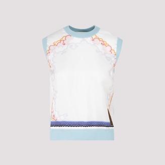 Lanvin Erte Printed Panel Sleeveless Sweater
