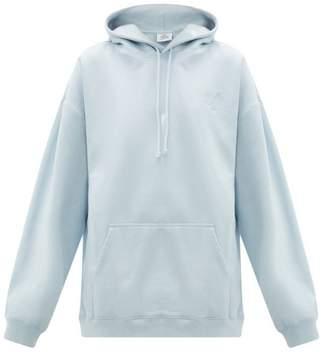Vetements Goat-print Cotton Jersey Hooded Sweatshirt - Womens - Light Blue