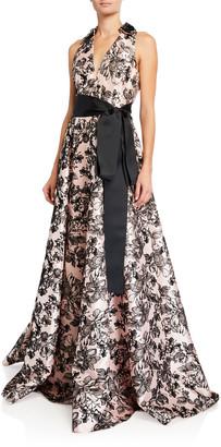 Badgley Mischka Flocked V-Neck Shirtdress A-Line Gown