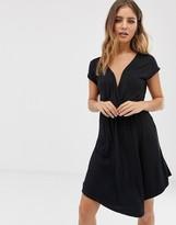 Brave Soul wrap front dress in black