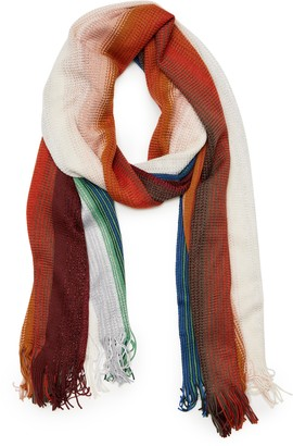 Missoni Zigzag Metallic Stripe Wool Blend Skinny Scarf