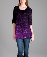 Lily Purple Dot Scoop Neck Tunic - Plus Too