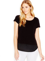 Maison Jules Layered-Look Pin-Dot T-Shirt, Only at Macy's