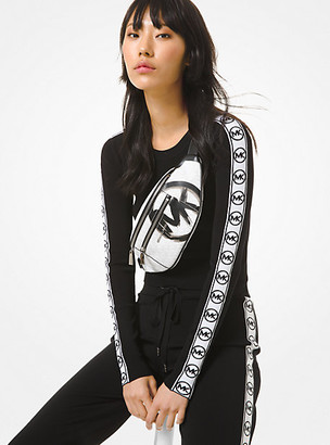 MICHAEL Michael Kors MK Logo Tape Viscose Cropped Sweater - Black - Michael Kors
