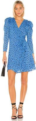 Rebecca Taylor Faux Wrap Long Sleeve Dot Wrap Dress