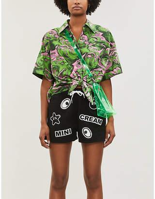 Mini Cream Logo-print drawstring-waistband cotton-twill shorts