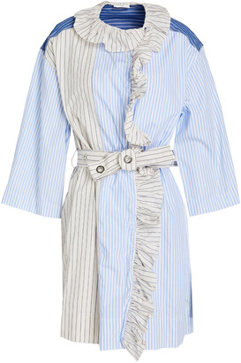 Sandro Shely Wrap-effect Ruffle-trimmed Striped Cotton-poplin Mini Dress