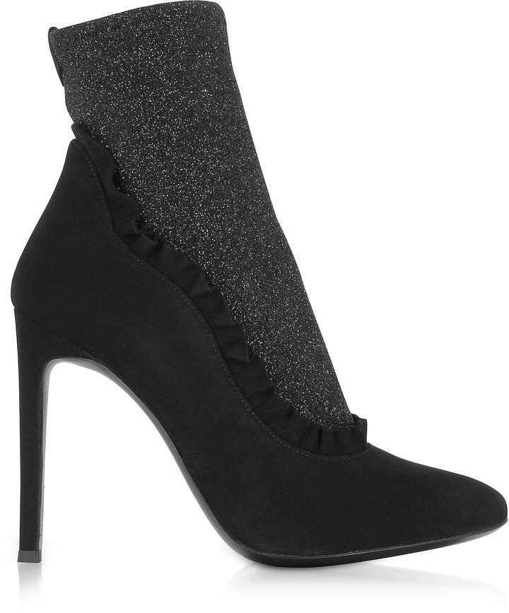 Giuseppe Zanotti Black Suede and Glitter Stretch Fabric High Heel Booties