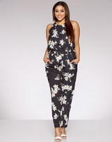 Quiz Curve Crepe Flower Print High Neck Elasticated Waist Tapered Leg Jumpsuit