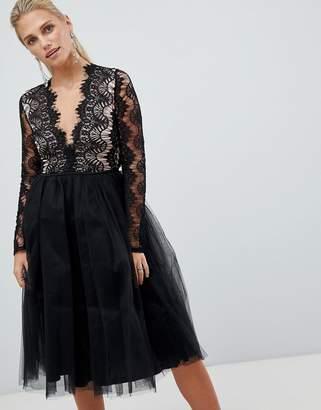 Rare London long sleeve lace tutu dress-Black