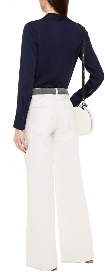 Thumbnail for your product : BA&SH Dustin Belted Stretch-cotton Twill Wide-leg Pants