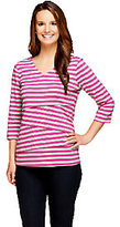 As Is Denim & Co. Tiered Striped Knit 3/4 Sleeve V-Neck Top