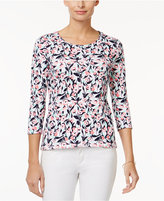 Charter Club Petite Cotton Floral-Print Top, Only at Macy's