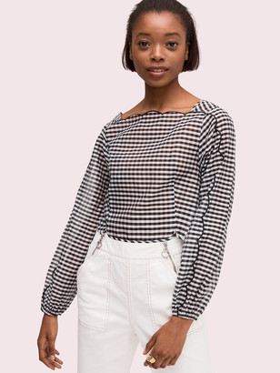 Kate Spade Embroidered Gingham Blouse