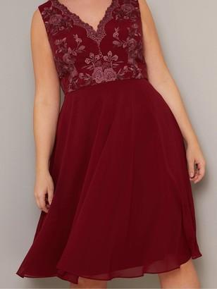 Chi Chi London Curve Thalia Dress - Burgundy
