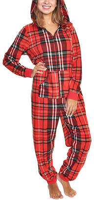 Angelina Women's One-Piece Pajamas Christmas - Red Plaid Fleece Hooded One-Piece Pajama - Women