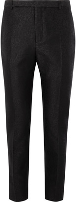 Saint Laurent Black Slim-Fit Wool And Silk-Blend Jacquard Trousers