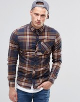 Element Buffalo Check Flannel Shirt In Regular Fit In Eclipse Navy Buttondown