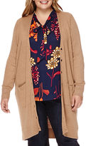STYLUS Stylus Long-Sleeve Ribbed Button-Front Cardigan - Plus