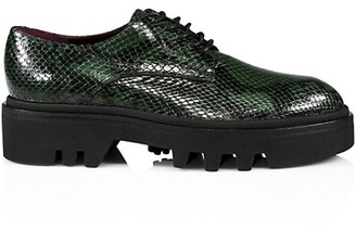 Dries Van Noten Lug-Sole Python-Embossed Leather Oxfords