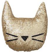 The Emily & Meritt Sequin Cat Pillow, Gold