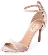 Valentino Velvet Bow-Heel Sandal, Pink